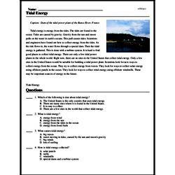 Print <i>Tidal Energy</i> reading comprehension.