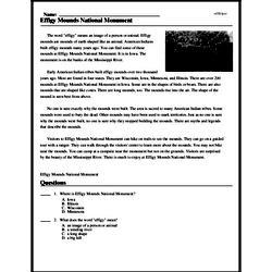 Print <i>Effigy Mounds National Monument</i> reading comprehension.