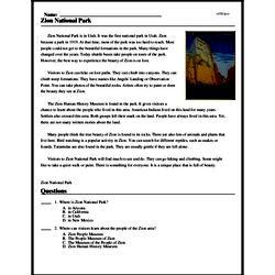 Print <i>Zion National Park</i> reading comprehension.