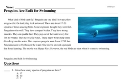 Print <i>Penguins Are Built for Swimming</i> reading comprehension.