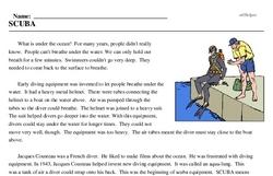 Print <i>SCUBA</i> reading comprehension.