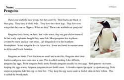 Print <i>Penguins</i> reading comprehension.
