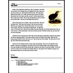 Print <i>The Kiwi</i> reading comprehension.