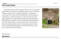 Print <i>The Giant Panda</i> reading comprehension.
