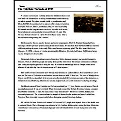 Print <i>The Tri-State Tornado of 1925</i> reading comprehension.