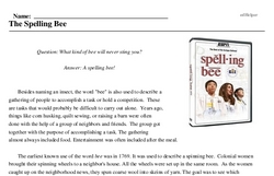 Print <i>The Spelling Bee</i> reading comprehension.