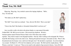 Print <i>Thank You, Mr. Bell!</i> reading comprehension.