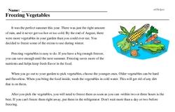 Print <i>Freezing Vegetables</i> reading comprehension.