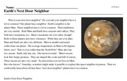 Print <i>Earth's Next Door Neighbor</i> reading comprehension.