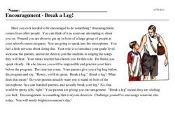 Print <i>Encouragement - Break a Leg!</i> reading comprehension.