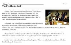 Print <i>The President's Staff</i> reading comprehension.