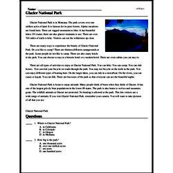 Print <i>Glacier National Park</i> reading comprehension.