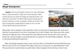 Print <i>Illegal Immigrants</i> reading comprehension.