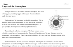 Print <i>Layers of the Atmosphere</i> reading comprehension.