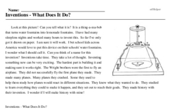 Print <i>Inventions - What Does It Do?</i> reading comprehension.