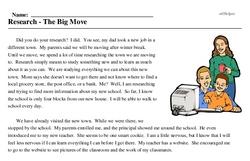 Print <i>Research - The Big Move</i> reading comprehension.