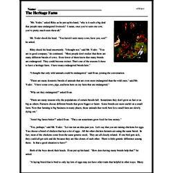 Print <i>The Heritage Farm</i> reading comprehension.