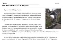 Print <i>The Natural Wonders of Virginia</i> reading comprehension.
