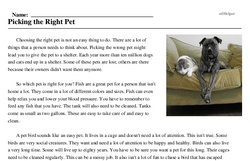 Print <i>Picking the Right Pet</i> reading comprehension.