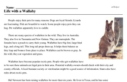 Print <i>Life with a Wallaby</i> reading comprehension.