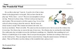 Print <i>The Wonderful Wind</i> reading comprehension.