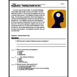 Print <i>Imagination - Thinking Outside the Box</i> reading comprehension.