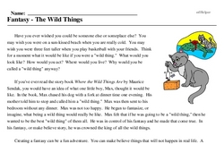 Print <i>Fantasy - The Wild Things</i> reading comprehension.