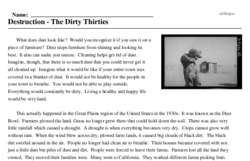 Print <i>Destruction - The Dirty Thirties</i> reading comprehension.