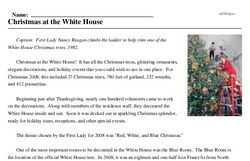 Print <i>Christmas at the White House</i> reading comprehension.