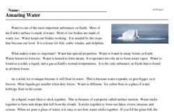 Print <i>Amazing Water</i> reading comprehension.