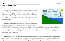 Print <i>The Water Cycle</i> reading comprehension.