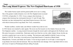 Print <i>The Long Island Express: The New England Hurricane of 1938</i> reading comprehension.