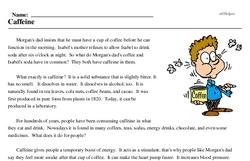 Print <i>Caffeine</i> reading comprehension.