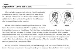 Print <i>Exploration - Lewis and Clark</i> reading comprehension.