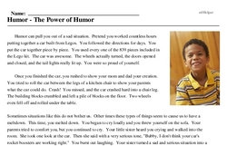 Print <i>Humor - The Power of Humor</i> reading comprehension.