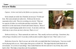 Print <i>S-l-o-w Sloths</i> reading comprehension.