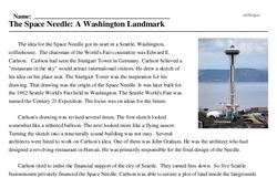 Print <i>The Space Needle: A Washington Landmark</i> reading comprehension.