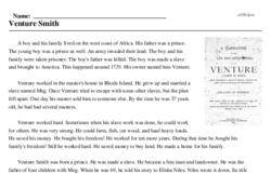 Print <i>Venture Smith</i> reading comprehension.