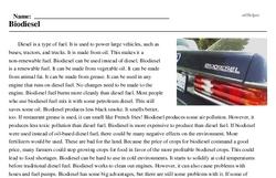 Print <i>Biodiesel</i> reading comprehension.