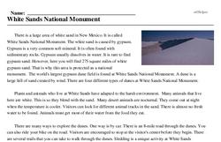 Print <i>White Sands National Monument</i> reading comprehension.