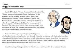 Print <i>Happy Presidents' Day</i> reading comprehension.