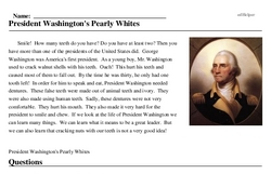 Print <i>President Washington's Pearly Whites</i> reading comprehension.