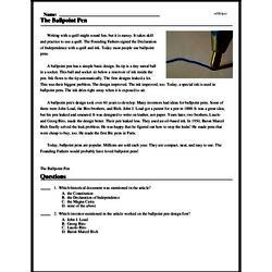 Print <i>The Ballpoint Pen</i> reading comprehension.