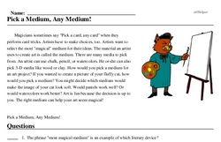 Print <i>Pick a Medium, Any Medium!</i> reading comprehension.