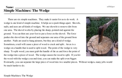 Print <i>Simple Machines: The Wedge</i> reading comprehension.