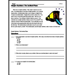 Print <i>Simple Machines: The Inclined Plane</i> reading comprehension.