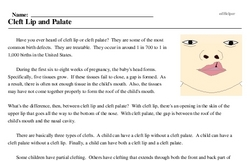 Print <i>Cleft Lip and Palate</i> reading comprehension.