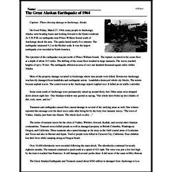 Print <i>The Great Alaskan Earthquake of 1964</i> reading comprehension.
