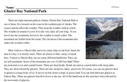 Print <i>Glacier Bay National Park</i> reading comprehension.