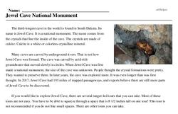 Print <i>Jewel Cave National Monument</i> reading comprehension.